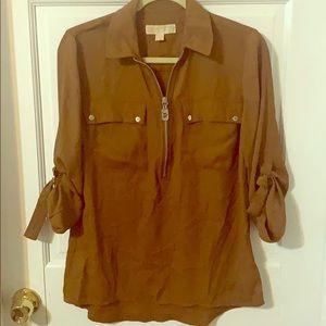 Michael Kors Brown zip up blouse
